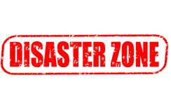 Disaster zone red stamp. On white background Stock Photo