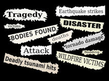 Disasters. Newspaper cuttings and headlines. Natural disasters and tragedies Royalty Free Stock Photos