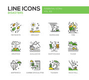 Disasters - line design icons set Stock Photography