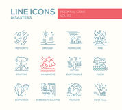 Disasters - line design icons set Royalty Free Stock Photography