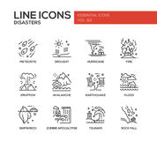 Disasters - line design icons set Stock Image
