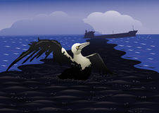 Disastrous oil spill. Sea bird dies in an oil spill on the background of the sinking of the tanker Royalty Free Stock Images