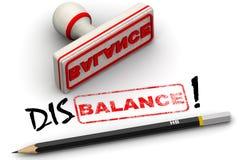 Disbalance! Korrigerat skyddsremsaintryck vektor illustrationer