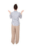 Disbelief - Caucasian woman arms raised Royalty Free Stock Photography