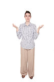 Disbelief - Caucasian woman with arms raised Stock Photos