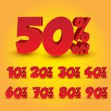 Set of 3D Promotional Discount - Vector Illustration stock images