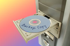 Disc Backup copy in tray Stock Images