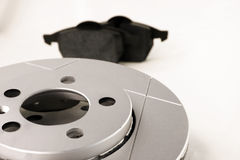 Disc brake. Brake disc and brake pads Stock Images