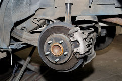 Disc brake. Car disc brake and a dusty suspension Stock Image