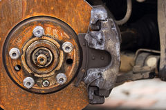 Disc brake. Old and worn Stock Photography