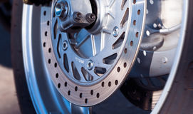 Disc brake detail. Motorcycle wheel disc brake detail Royalty Free Stock Photo