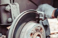 Disc brake of the vehicle for repair. Closeup disc brake of the vehicle for repair royalty free stock photography