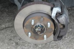 Disc and brakes of a car.  Royalty Free Stock Photos