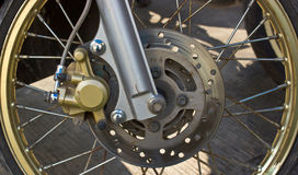 Disc brakes front wheel motorbikes. Stock Photography