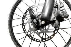 Disc brakes isolated. Detail disc brakes on mountain bike - fisheye photo Royalty Free Stock Images
