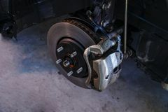 Disc brakes, stopping the break ,Car Suspension and car bearing parts concept royalty free stock image
