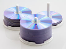 Disc CD DVD Blank. Multiple stacks CD / DVD blank, neat and ready to be burned Stock Photo
