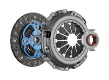 Disc and clutch basket with release bearing Stock Photos