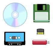Disc, diskette, cassette icons Stock Image