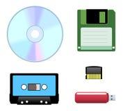 Disc, diskette, cassette icons stock illustration