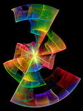 Disc fragment. Colored lines and curves on black background - fractal royalty free illustration