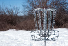 Disc Golf Basket in Snow Royalty Free Stock Photos