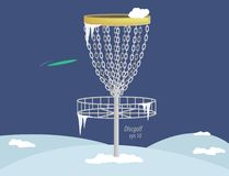 Disc golf basket in winter (vector) Royalty Free Stock Photo