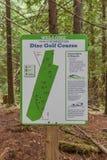 Disc Golf Course Sign Stock Photo