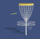 Disc golf design - basket and frisbee  Royalty Free Stock Image