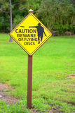 Disc Golf Flying Discs caution sign. Flying discs caution sign at a disc golf course Stock Photo