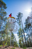 Disc golf hole in the woods Stock Images