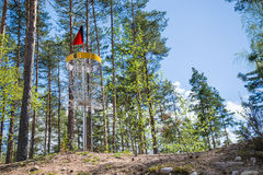 Disc golf hole in the woods Stock Photography