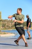 USA, Arizona: Disc Golfer Aiming Stock Photo