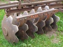 Disc harrow. Rusted hard disc harrow, outdoor, close up Stock Images