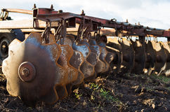 Disc harrows. Close up. Disc harrow used to cultivate the soil. Close up Royalty Free Stock Images