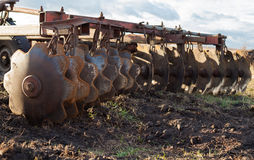 Disc harrows. Close up. Disc harrow used to cultivate the soil. Close up Stock Photos