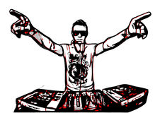 Disc jockey in action Stock Images
