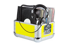 Disc Jockey box and headphones Royalty Free Stock Photography