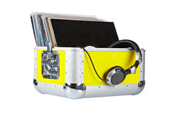 Disc Jockey box and headphones Royalty Free Stock Images