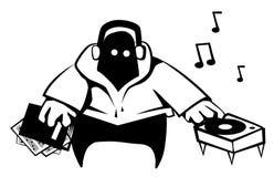 Disc Jockey Cartoon Stencil. Black, vector illustration, horizontal, isolated Royalty Free Stock Image
