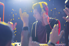 Disc jockey and crowd Royalty Free Stock Photos