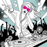 Disc jockey girl with a DJ mixer and people dancing at a party. Linear drawing. There is in addition a vector format EPS 8n Royalty Free Stock Images