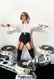 Disc jockey girl Royalty Free Stock Photo