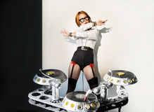 Disc jockey girl Stock Image