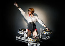 Disc jockey girl Stock Photo