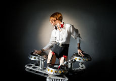 Disc jockey girl Royalty Free Stock Photography