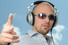 Disc Jockey with Headphones Stock Photography