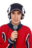 Disc jockey with headphones and microphone. On white background stock images