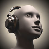 Disc Jockey. Headset on a human head looking to the up Stock Photography