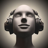 Disc Jockey. Headset on a human head looking to the up Royalty Free Stock Photos